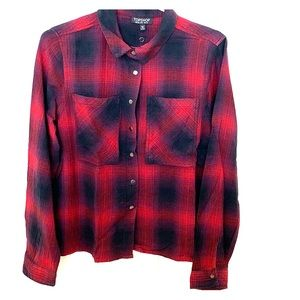 Topshop Button down Blk/Red Flannel Shirt Size 6
